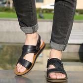 兩用涼拖鞋男士夏季中年爸爸外穿潮流涼鞋真皮沙灘鞋越南厚底防滑 京都3C