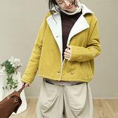 純棉外套 韓版加厚外套 短款單排扣外套/2色-夢想家-1018