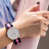 Daniel Wellington DW 瑞典簡約風格 36mm 尼龍 粉藍條紋 手錶 0505DW DW00100033
