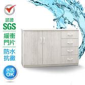 IHouse-SGS 防潮抗蟲蛀緩衝塑鋼四抽二門置物碗盤櫃