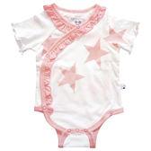 美國Babysoy-有機棉星星短袖荷葉邊包屁衣_粉紅星星