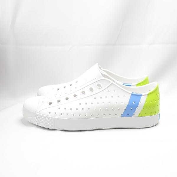 Native JEFFERSON BLOCK 洞洞鞋 111001028909 男女款 藍綠條紋【iSport愛運動】