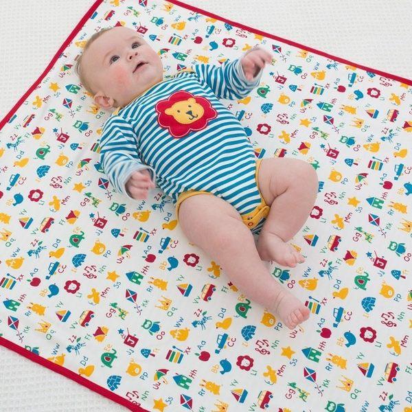 有機 / 嬰兒毯 Kite Kids 有機棉雙面嬰兒毯 / 毯子 / 嬰兒被 - 藍條紋字母小動物 BB889 單一尺寸