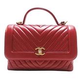 CHANEL 香奈兒 紅色山形紋牛皮手提肩背包 Flap Bag With Top Handle Bag【BRAND OFF】