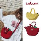 -兩款-可愛蘋果&香蕉帆布側背包 手提包 肩背包 書包 隨身包 小物包 出遊包 Unicorn手機殼