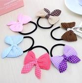 ►雙蝴蝶結髮繩 頭繩 糖果色針織兔子圓點髮飾 頭飾 韓國 【B5004】