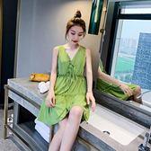 吊帶洋裝新款夏牛油果綠裙子女仙女超仙森系女裝雪紡小清新 夢想生活家
