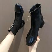 方頭粗跟短靴女秋季單靴2020新款馬丁靴女中跟網紅瘦瘦靴