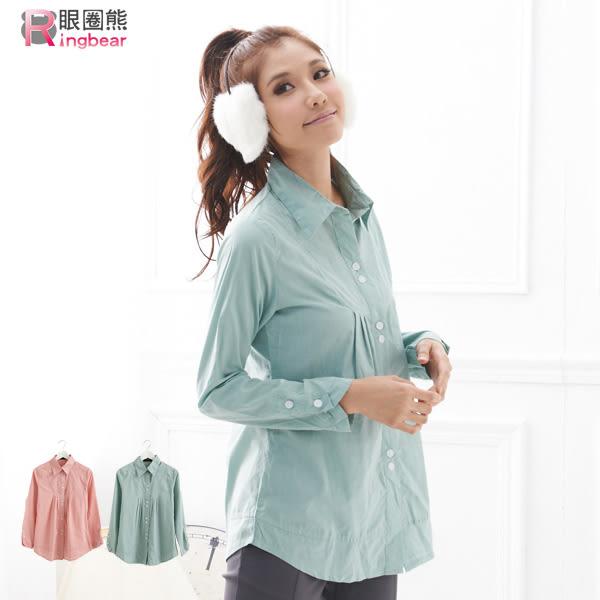 襯衫--繽紛甜美胸前袖口壓摺長版襯衫(粉.綠M-2L)-I56眼圈熊中大尺碼