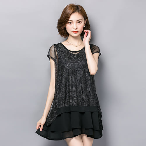 *ORead* 中長款蕾絲網雪紡衫(黑色M~4XL)
