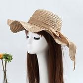 草帽-蝴蝶結戶外出遊遮陽寬簷波浪邊女編織帽6色73dc14[時尚巴黎]
