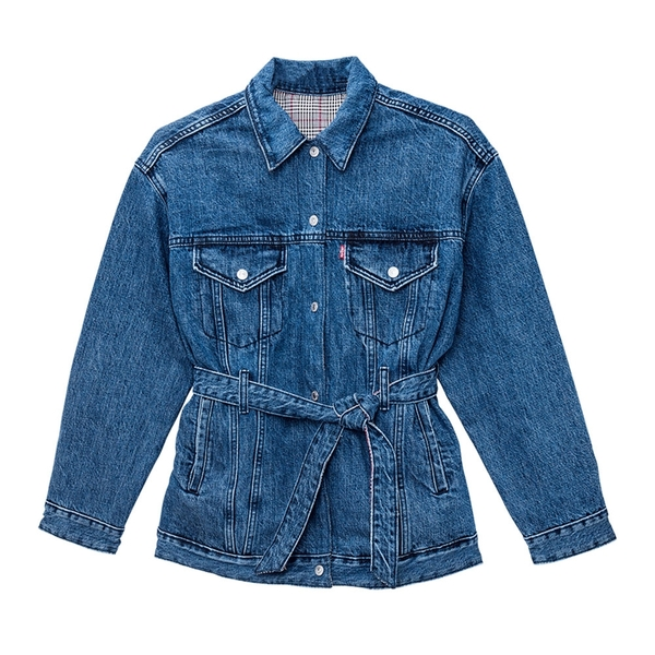 Levis 女款 牛仔外套 / 雙面穿 / 內裏格紋 / 可拆式綁帶設計