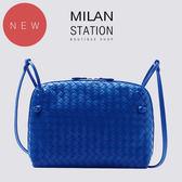 【台中米蘭站】BV寶藍編織羊皮方形拉鍊斜背包