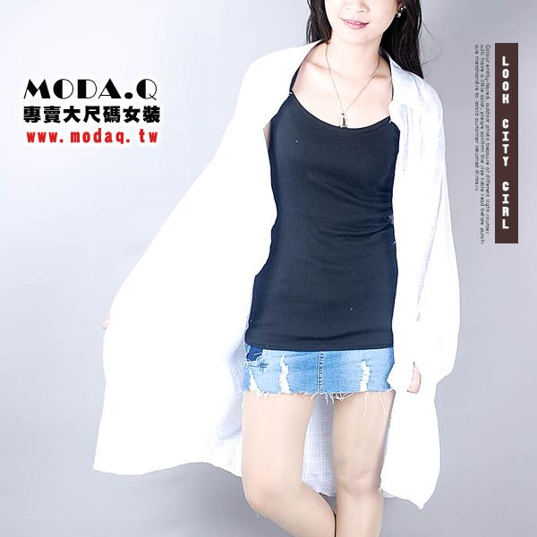 *MoDa.Q中大尺碼*【E88097F】氣質舒適條紋/格紋長版襯衫長版洋裝