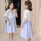 漂亮小媽咪 布蕾絲 連身裙【D7088】韓系 蕾絲 條紋 短袖 洋裝 孕婦裝 泡泡袖 孕婦洋裝