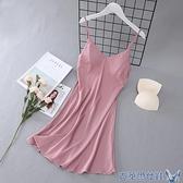 春秋睡裙女士夏冰絲綢純色性感吊帶可愛火辣薄款睡衣家居服帶胸墊 快速出貨