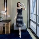 維多利亞姑娘法式復古裙很仙的法國小眾波點吊帶連身裙洋氣女夏天 快速出貨