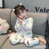 兒童連體睡衣 兒童連體睡衣冬季法蘭絨寶寶秋冬加厚珊瑚絨女童男童女小童嬰兒服 遇見初晴