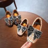春季新款兒童皮鞋女童平底公主鞋水鉆單鞋一腳蹬演出鞋蝴蝶結