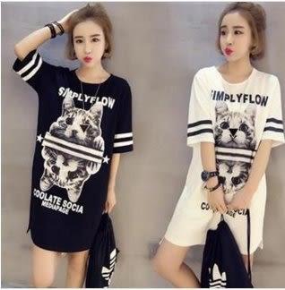 現貨黑色3XLT恤上衣洋裝休閑連身裙14400/韓版中大尺碼百搭長版T裙洋裝 依品國際