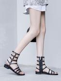 涼鞋 鞋子女潮鞋歐美高筒鉚釘涼鞋女夏學生平底羅馬鞋網紅鏤空長靴