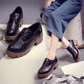 牛津鞋 英倫中跟圓頭小皮鞋布洛克厚底低幫鞋