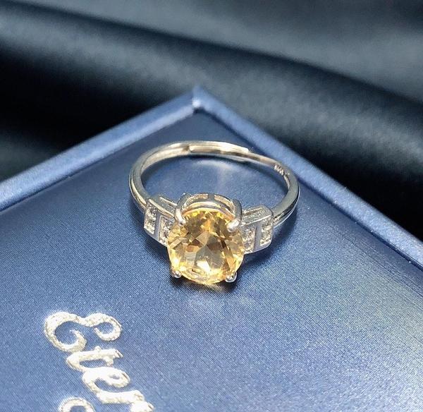 -琥珀黃水晶2.25克拉女戒指-含寶石鑑定書