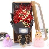 勿忘我幹滿天星玫瑰永生花束禮盒-滿星紅