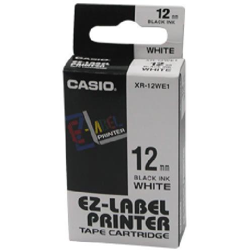 【CASIO卡西歐】 XR-12WE1白底黑字標誌帶12m/m×8M