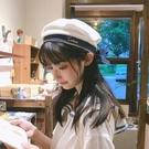 貝雷帽 日系甜美可愛蝴蝶結長帶子貝雷帽子女韓版休閒百搭刺繡字母畫家帽