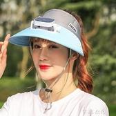 充電風扇帽太陽能多功能帶風扇的帽子夏季男女遮臉採茶防曬遮陽帽快速出貨