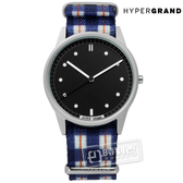 HyperGrand / NWH2TART / Tartan 經典格紋藝術印花尼龍手錶 黑x藍白 38mm★加購鋼化玻璃膜★