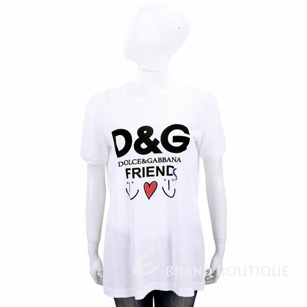 DOLCE & GABBANA 亮片字母印花白色輕質棉短T恤 1910003-20