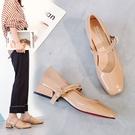 2020年韓版優雅亮面方頭瑪麗珍低跟鞋3色