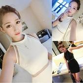 現貨白M無袖洋裝禮服包臀裙21475