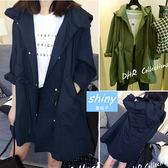 【V4389】shiny藍格子-暖風秋感.時尚美型抽繩顯瘦連帽長袖風衣外套
