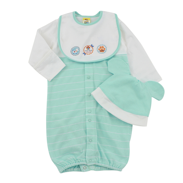【愛的世界】純棉小狗長袖兩用嬰衣3件組禮盒/3個月-台灣製-  - ---禮盒推薦