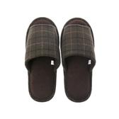 HOLA 英倫格紋保暖拖鞋-綠M