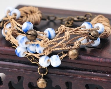 棉麻陶瓷手鍊-AA020