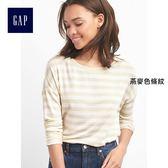 Gap女裝 舒適柔軟條紋船領長袖T恤  101858-燕麥色條紋