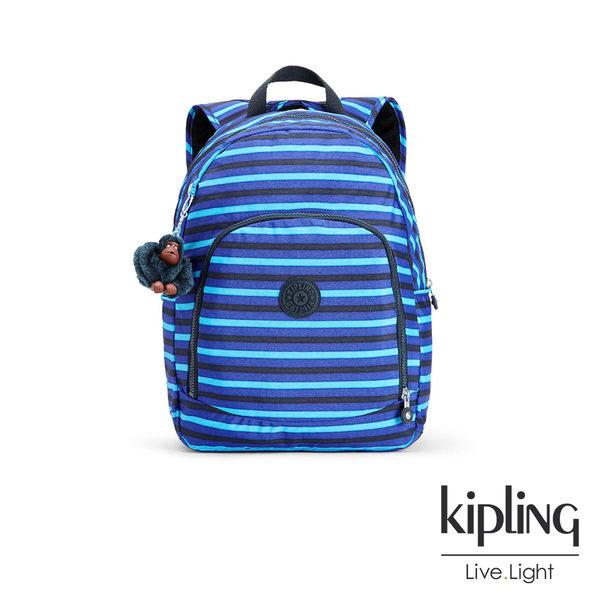 Kipling 藍黑條紋印花後背包-大