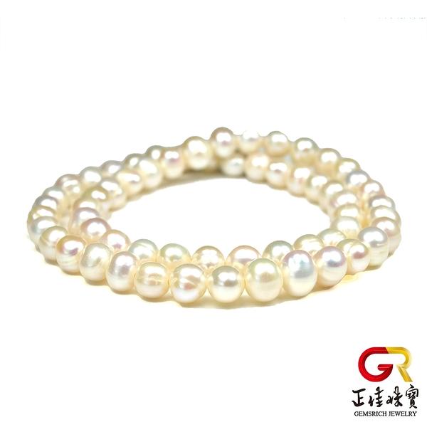 天然淡水珍珠手鍊 高雅珍珠手珠 雙圈環繞 珍珠手珠 正佳珠寶
