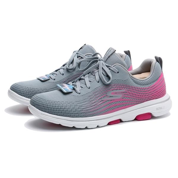 SKECHERS 健走鞋 GO WALK 5 灰粉 網布 線條 綁帶 運動 健身 女 (布魯克林) 124009GYPK