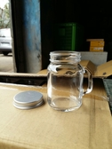 附銀蓋120cc迷你梅森瓶【T034】把手布丁瓶 奶酪布丁杯 果醬瓶 收納罐 蜂蜜瓶 玻璃瓶