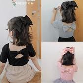 女童短袖t恤2021夏裝新款韓版露背蝴蝶結洋氣打底衫兒童純色上衣 幸福第一站