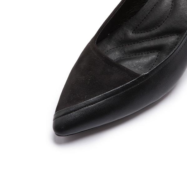 【Fair Lady】芯太軟 異材質拼接尖頭高跟鞋 黑