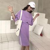 休閒運動套裝女夏裝2018新款正韓寬鬆條紋短袖T恤 半身裙兩件套潮