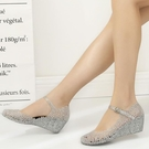 【YPRA】水晶涼鞋女夏塑料鞋坡跟透明洞洞鞋女廣場舞鞋軟塑料女涼鞋沙灘鞋