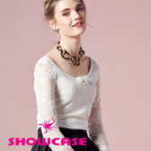 【SHOWCASE】氣質圓領毛飾蕾絲上衣(黑/白)