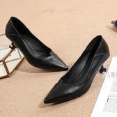 大?Ol女鞋女尖頭職業工作鞋中跟工鞋女黑色優雅百搭禮儀鞋細跟 JA5144『麗人雅苑』